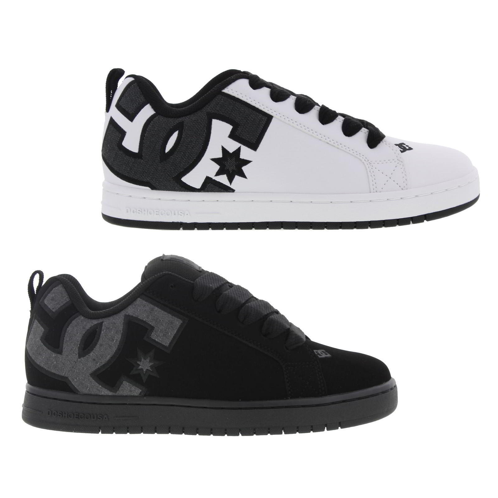 DC Court Zapatos Graffik SE Hombre Negro Blanco Leather Skate Zapatos Court Trainers Talla 7-16 ded914
