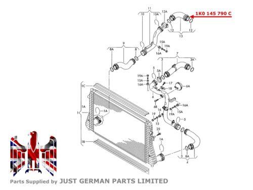 VW Audi 2.0 TDI Pressione Di Sovralimentazione Turbo Uscita Tubo Posteriore Destro O//S 1K0145790C