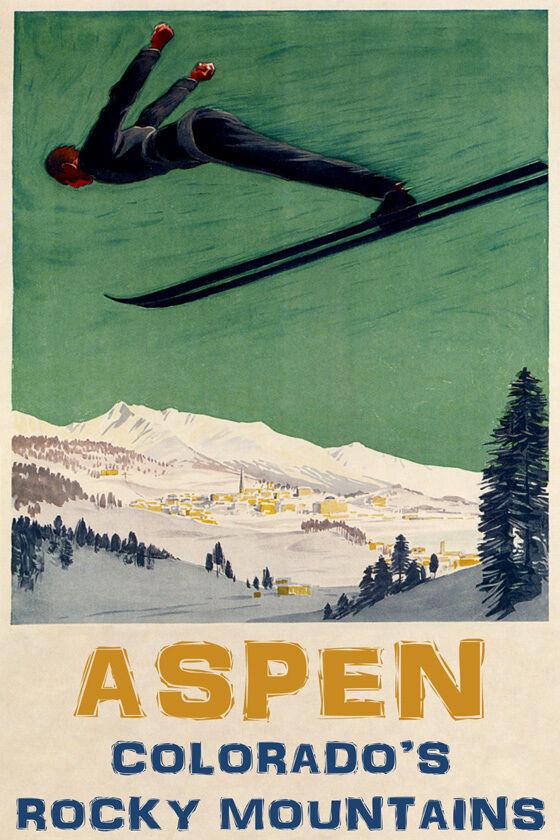 MAN DOWNHILL SKIING SKI JUMPING ASPEN ColoreeeADO WINTER SPORT VINTAGE POSTER REPRO