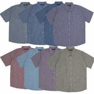 Mens Big & Tall Check Shirt Short Sleeve Smart Casual Work Top King Size 3XL-6XL