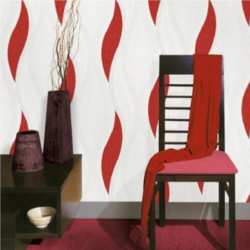 Job Lot 3 Roll Luxury Wave Glitter Blown Vinyl Textured Metallic Wallpaper Red