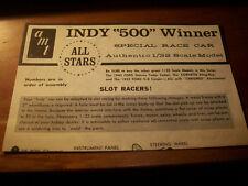 AMT  ALL STARS-INDY 500 WINNER- INSTRUCTIONS ONLY -  FOR MODEL KIT