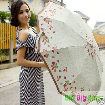 Cute Strawberry AUTO Open/Close Silver Coating Anti-UV Parasol Umbrella 10 Ribs