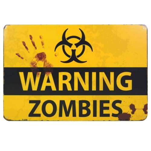 Warning Zombies Retro Metal Tin Sign Homewares Horror Punk Gothic Dead Cave Bar