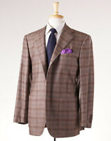 $7495 Kiton Heather Brown-blue Windowpane Cashmere-silk Sport Coat 48 R on sale