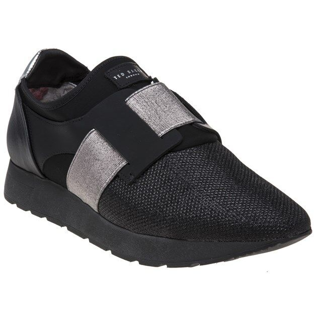 New WOMENS TED BAKER BLACK HARQCEN TEXTILE Sneakers Running Style