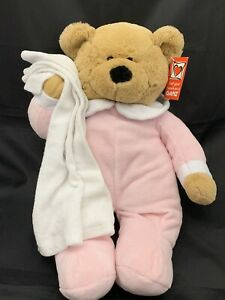 New-Gund-Teddy-Bear-Blanket-Towel-Bedtime-Bathtime-Plush-Soft-Pink-Baby-15-In
