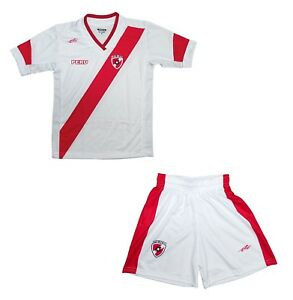 8088d71fc Youth Soccer Uniform Peru Arza color White Red 100% Polyester Kids ...