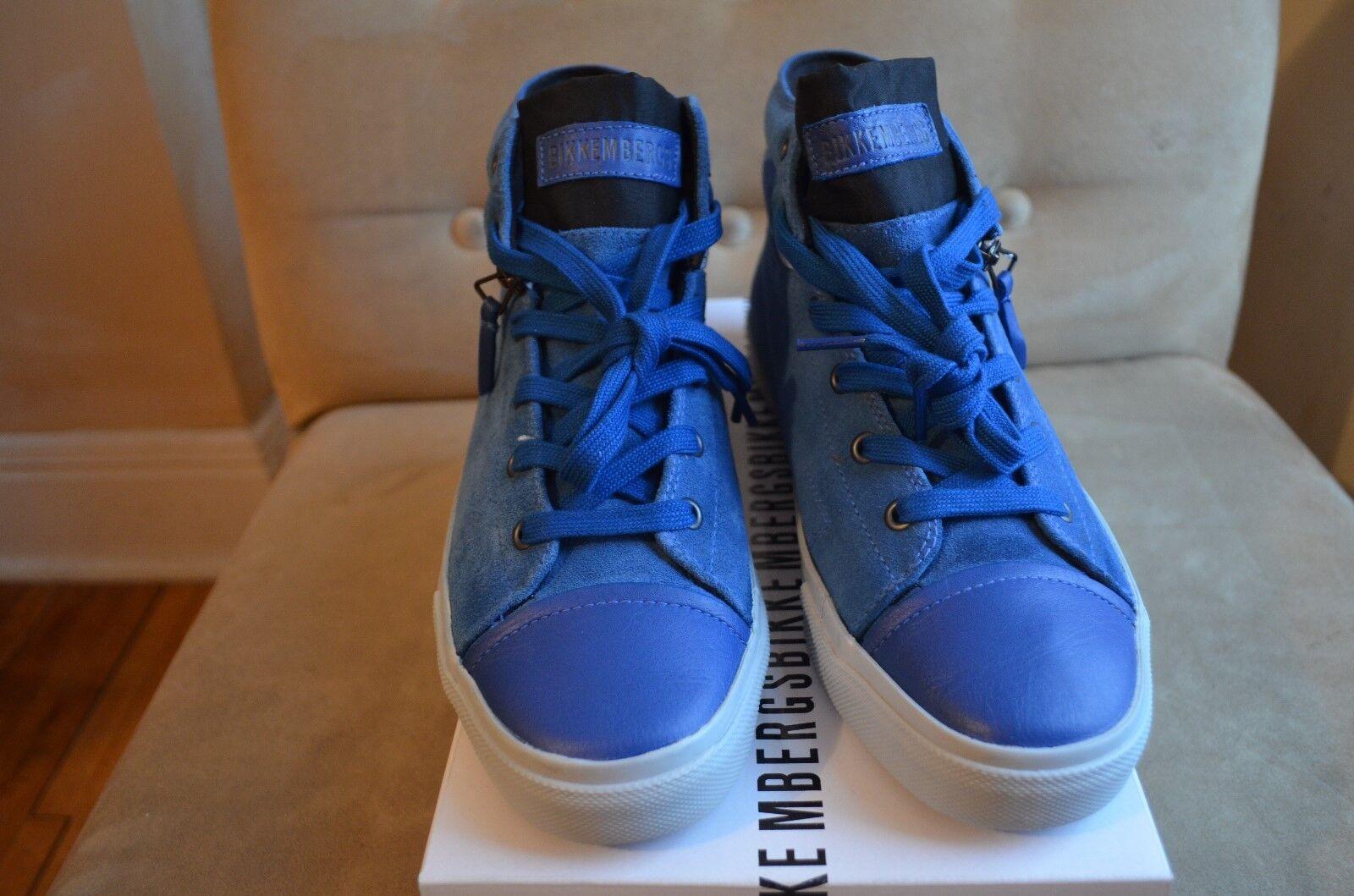 BIKKEMBERGS blu bianca SUEDE ANTRA LEATHER MID ZIPPER TOP scarpe da ginnastica scarpe 41 8
