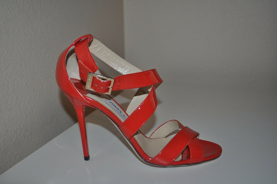 NEW JIMMY CHOO Sz 38.5 LOTTIE Flame RED Patent Patent Patent Leather Strappy Sandal shoes 8.5 154878