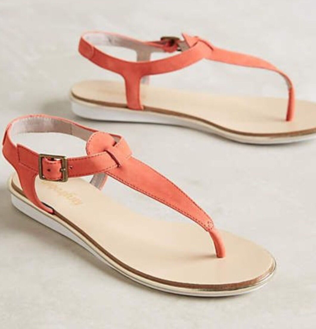 NEW Anthropologie 'Monica' T-Strap Pelle Sandals Size 36