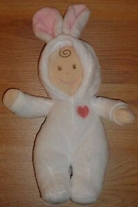 "Baby Ganz EASTER BUNNY White & Pink Baby Doll toy 9"" soft plush"