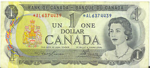 Bank-of-Canada-1973-1-One-Dollar-Replacement-Note-AL-Prefix-Asterisk-F-VF