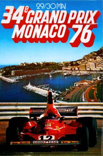 1976 Monaco 34th Grand Prix Automobile Race Car Advertisement Vintage Poster