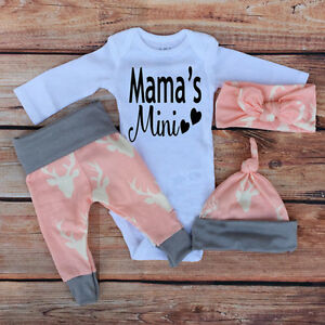 f89710e7a 4PCS Newborn Baby Boy Girl Infant Romper Jumpsuit+Pants+Hat+Headband ...