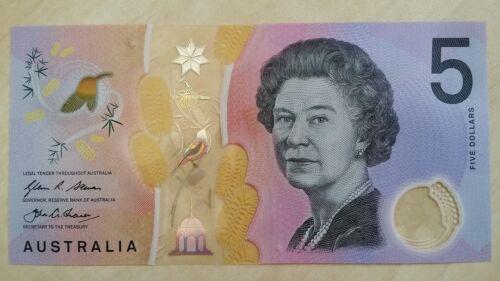 AUSTRALIA $5 Dollars LAST PREFIX EJ16 2016 Stevens//Fraser UNC Banknote