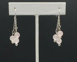 Genuine-Rose-Quartz-Dangle-Earrings-Solid-Sterling-Silver