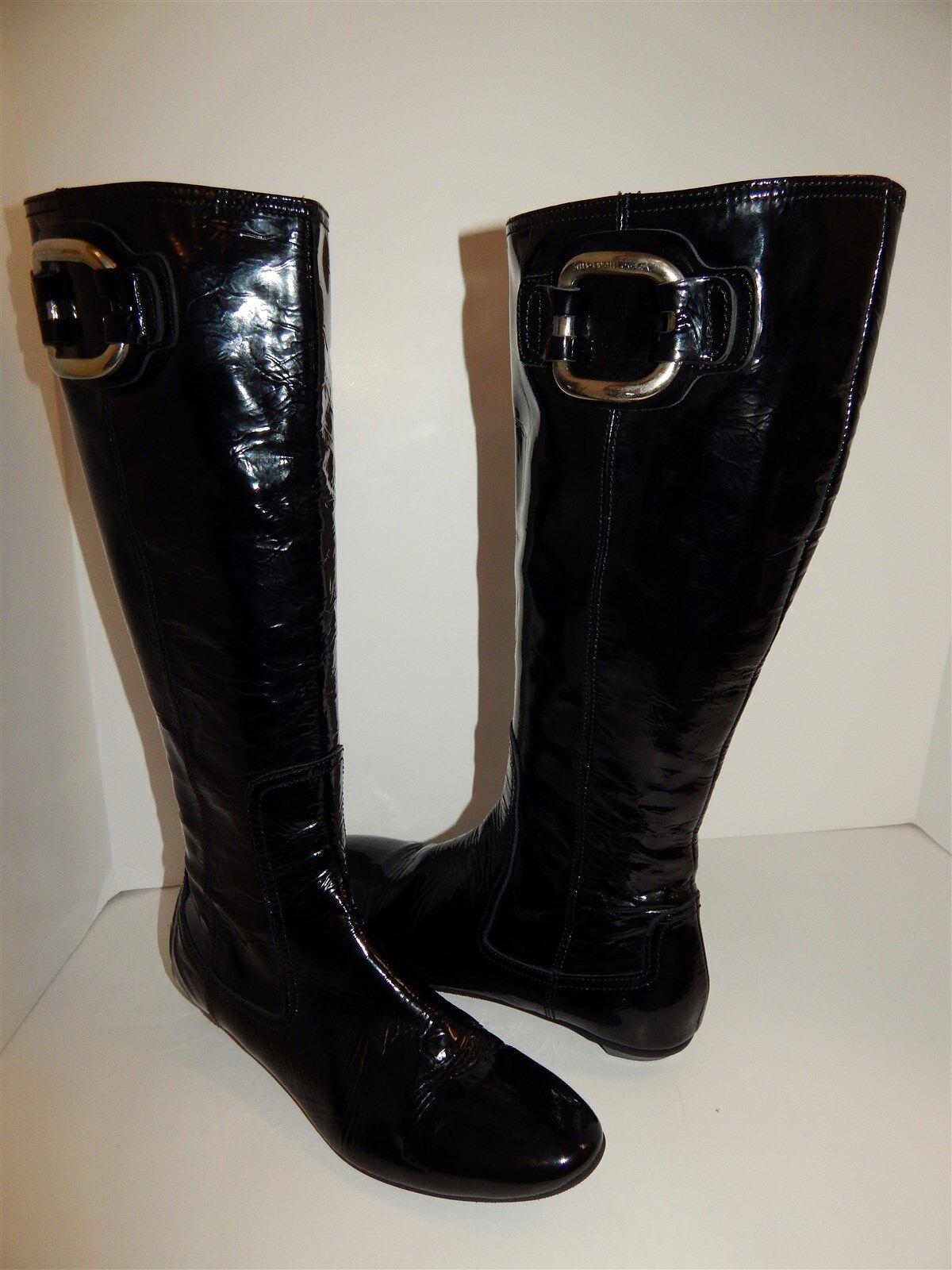 Attilio Giusti Leombruni AGL Black Patent Tall Boots 38.5 US US US sz 8 f6b699