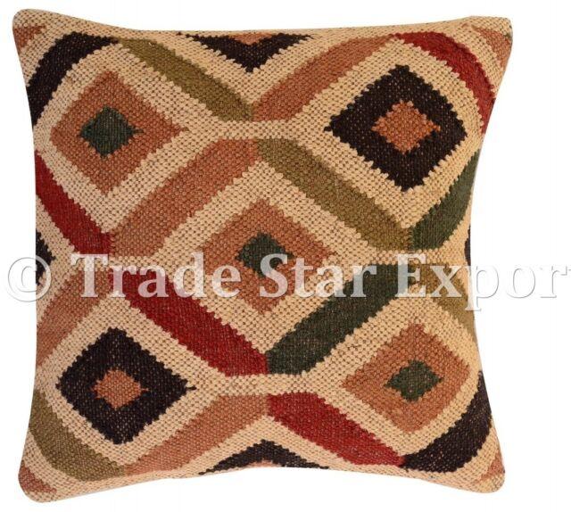 Hand Woven Kilim Jute Pillow Case 18x18 Handmade Vintage Rug Throw Cushion Cover