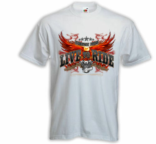 Biker t-shirt live to ride blanc Motorcycle Bike racing usa skull v8