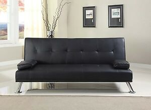 Image Is Loading Stunning Faux Leather Italian Designer Style Sofa Bed