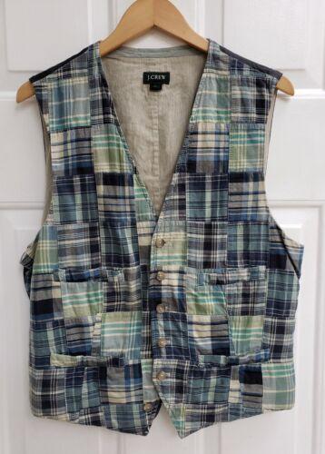 J Crew Madras Patchwork Plaid Quilt Green Vest Coa