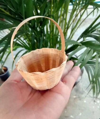 Dollhouse Miniature Wicker Candy Bread Vegetable Fruit Mini Bamboo Basket x 100