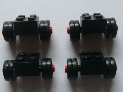 4 black brick with dually tire ans wheel Lego 4 roues doubles noires