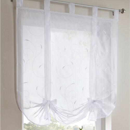 White Embroidery Roman Curtains Sheer Voile Window Shade Blinds 120x140cm