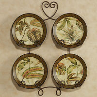 Tropical Palm Leaf Decorative Plates Set Of 4 (rack Not Incl.)
