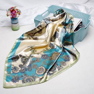 Women-039-s-Fashion-Blue-Paisley-Print-Scarf-Silk-Satin-Soft-Shawl-Scarves-35-034-35-034
