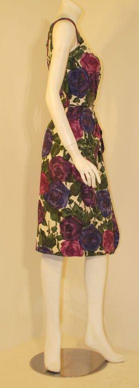 CEIL CHAPMAN 1950s Violet Cotton Floral Print Wig… - image 4