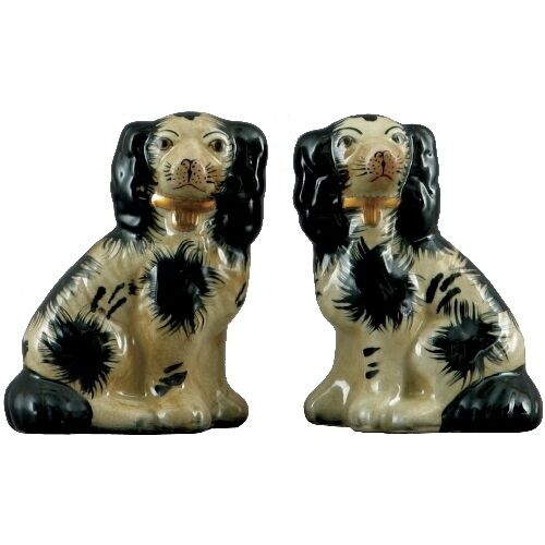 New Staffordshire King Charles Spaniel Dog Pair Figurines 5 Inches