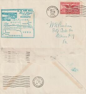 US-1950-AM-35-FIRST-FLIGHT-FLOWN-COVER-MANKATO-MINN-TO-MINNEAPOLIS-MINN