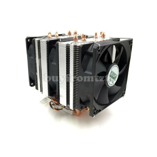4Pin CPU Cooler 1155 1156 AVC Pure Copper 6 Heat Pipe Single Cooling Fan B