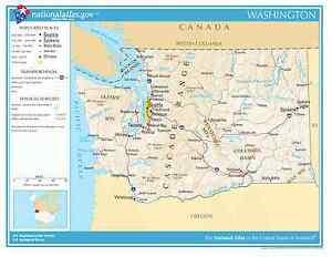 Washington State Reference Laminated Wall Map