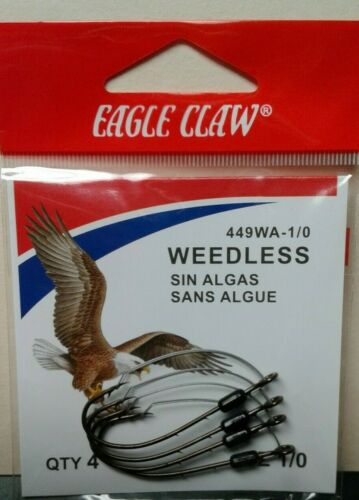 Eagle Claw 449WAH-1 Weedless Baitholder Fishing Hook Size 1 Forged 2
