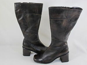 Spring-Dark-Brown-Lined-Winter-Boots-Size-7-US-Excellent-EUR-38