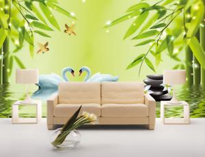 3D Bamboo Leaves Swan 839 Wallpaper Mural Paper Wall Print Wallpaper Murals UK