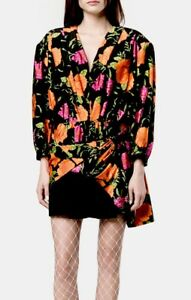d2ea78e4f5d8 Image is loading Balenciaga-Multicolor-Floral -Print-Asymmetrical-Hem-Dress-FR-