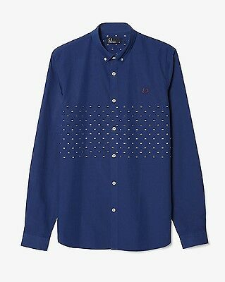Fred Perry Men/'s Tipped Dobby Chest Long Sleeve Shirt M7289-143 French Navy