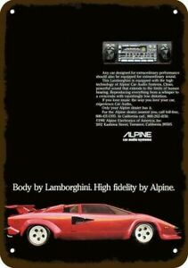 1981 ALPINE 7347 CAR STEREO Vintage Look DECORATIVE METAL SIGN - LAMBORGHINI Car