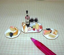 Miniature Bread, Wine and Cheese Set, Hexagonal Porcelain Plates DOLLHOUSE 1/12