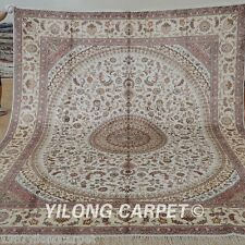 Yilong 8'x10' Large Silk Area Rugs Hand-knotted Carpets Hand made Discount 1251