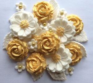 GOLD ROSE BOUQET Edible Sugar Paste Flower Cake ...