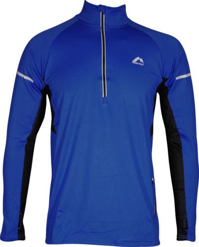 More Mile Alaska 2 Mens Thermal Running Top Blue Half Zip Long Sleeve Run Jersey
