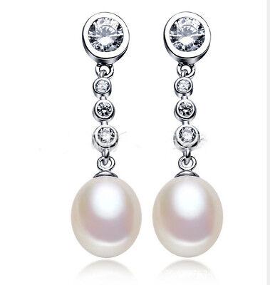 Zucht Süßwasser Perlen Zirkonia 925 Sterlingsilber Ohrringe Ohrstecker Lange NEU