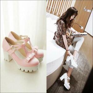 Lolita-Girl-Womens-Sweet-Bowknot-Platform-T-Strap-Mary-Jane-Heels-Shoes-Plus-SZ