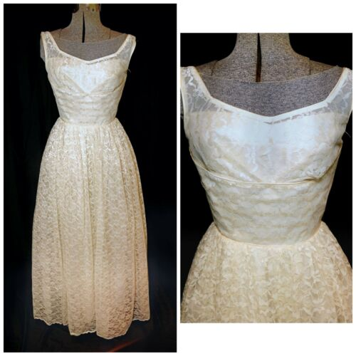 VTG 50's Ivory Floral Lace Prom Formal Wedding Gow