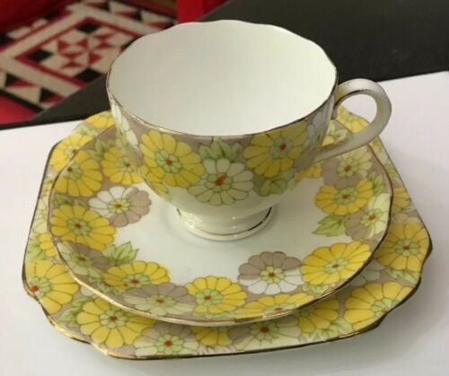 Art Deco Vintage Radford/'s Fenton Blythe Yellow Flower Trio Tea Cup Saucer Plate